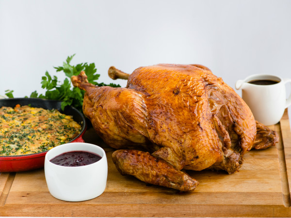 Roasted-Turkey-with-Cornbread-and-Sausage-Stuffing-Giblet-Gravy-and-Cranberry-Sauce-600x449