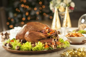 Steam-Baked-Turkey-stuffed-w-Fresh-Chestnuts-Ham-Vegetables-served-w-Yam-Rice-600x398