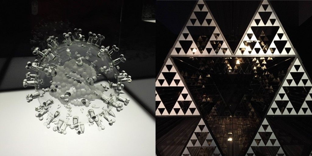 依照沙斯病毒的形状制成的玻璃艺术品;装置艺术品
