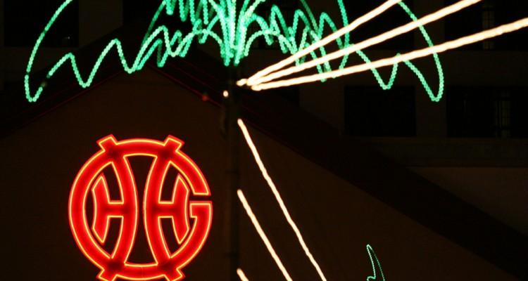 Genting logo lights up in the dark