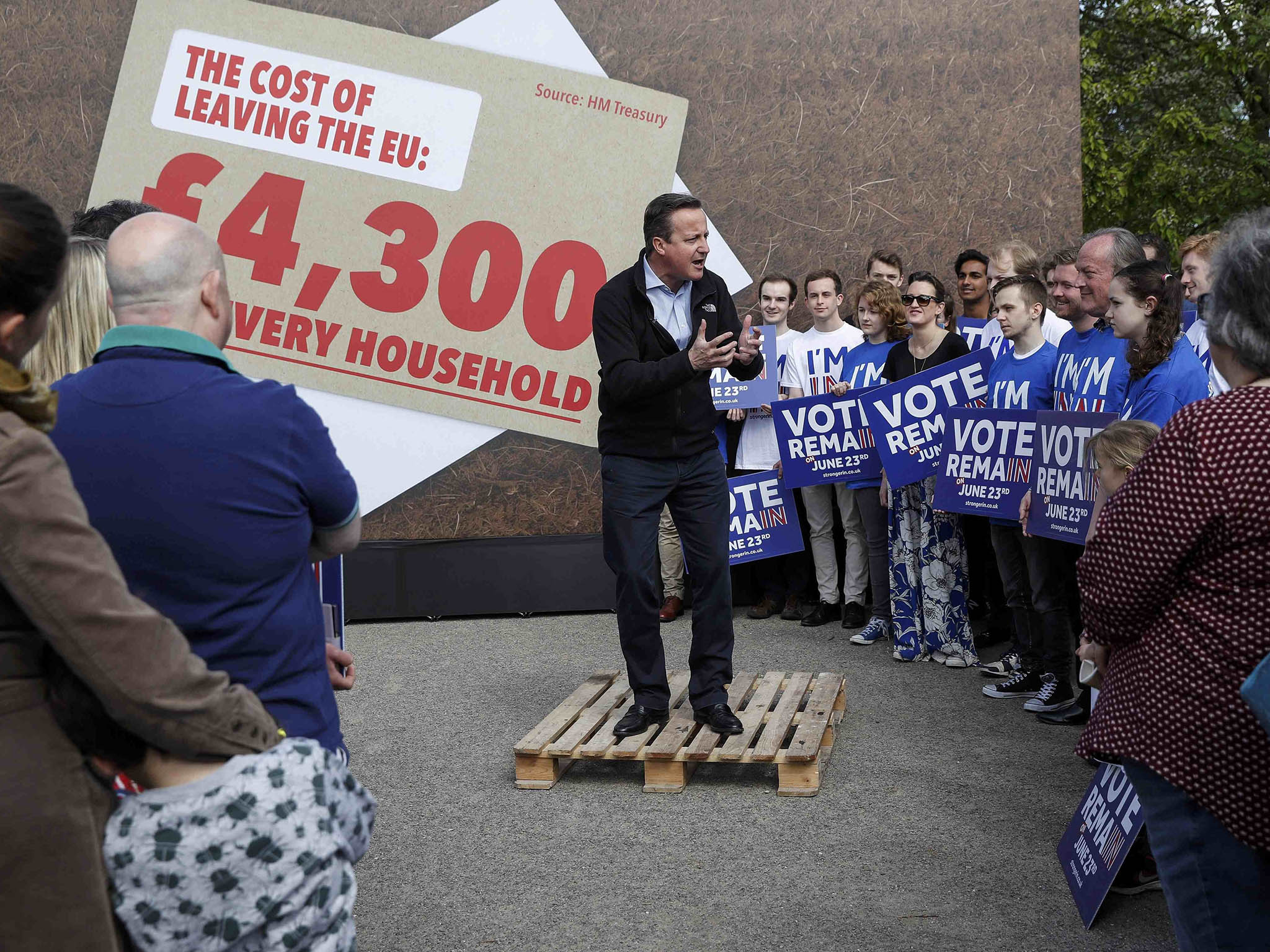 "Prime Minister David Cameron delivers a speech at a Remain campaign event in his Witney constituency in Oxfordshire, where he warned that a vote to leave the European Union could tip the British economy back into recession. PRESS ASSOCIATION Photo. Picture date: Saturday May 14, 2016. The Prime Minister said the country would take an ""immediate and sustained hit"" if it votes for Brexit in the referendum on June 23. See PA story POLITICS EU. Photo credit should read: Eddie Keogh/PA Wire"