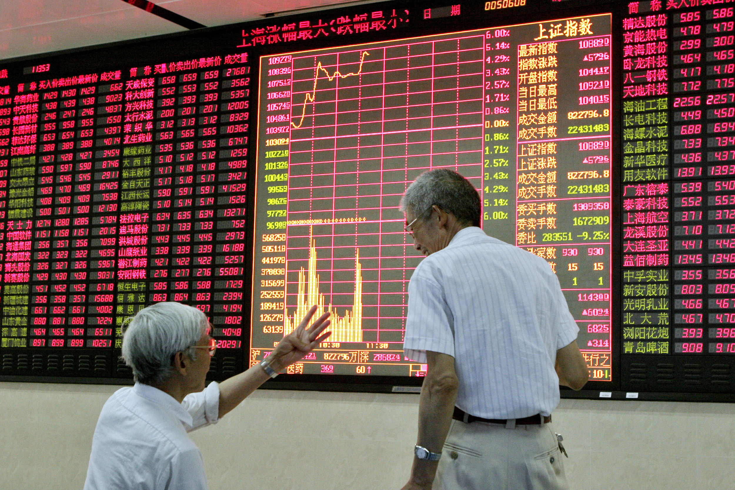 2 Chinese investors talk to each other in a stock trade floor in Shanghai, China on 08 June 2005.(Photo by Kevin Lee/Bloomberg News)