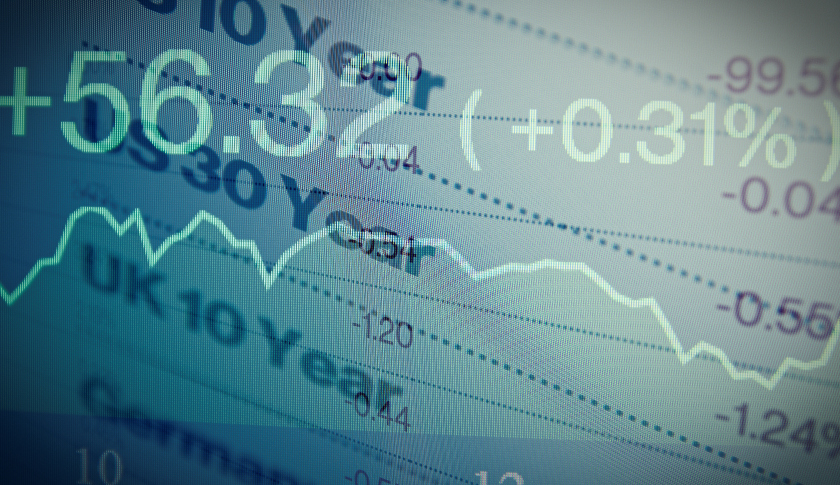 Macro photo of trading terminal on PC monitor. Financial data on PC screen. Multiple exposure. Lo-fi effect.
