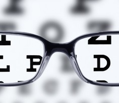 Reading eyeglasses and eye chart