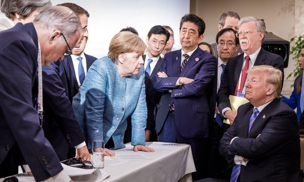 """今年的七国集团(G7)峰会,首次出现不欢而散的结果。难怪在G7会议的第一天,传媒已经将这次G7峰会称为""""G6+1""""峰会"""